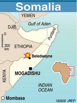 Map of Somalia locating Beledweyne