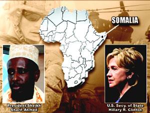 Hillary Clinton with Somali President Sheikh Sharif Ahmed