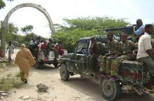 Somali government soldiers patrol in the capital Mogadishu, August, 22, 2009