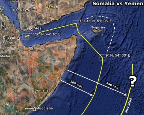 somali yemen Khariidad muujineysa Loolka iyo Dhigaha Xadaynaya badda u dhaxaysa Somalia iyo Yemen.. Isha sawirka GoogleEarth