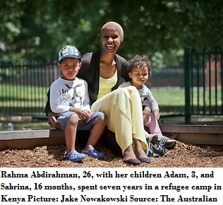 Rahma Abdirahman 26 with her children Adam 3 and Sabrina