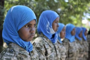 Female Somali National Army training in Beledweyne.